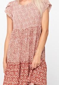 Trapezowa biało-brązowa sukienka