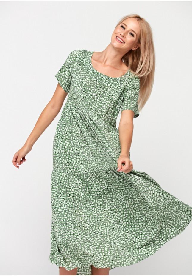 Zielona trapezowa sukienka