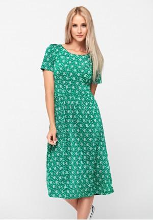 Zielona sukienka w kwiatki