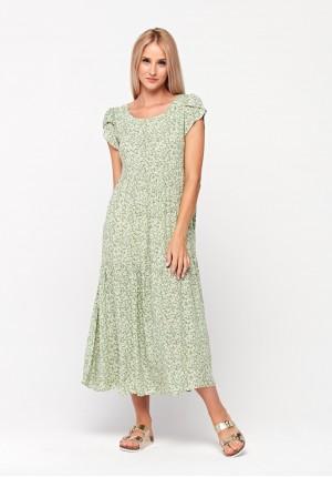 Zielona sukienka maxi w kwiatki