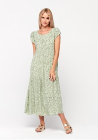 Green maxi dress with flowers
