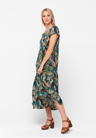 Trapezoidal dress with leaves