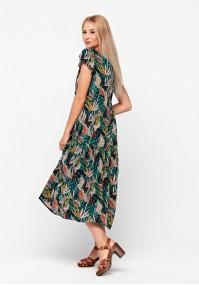 Trapezowa sukienka w liście