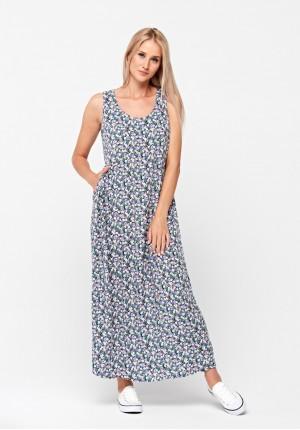 Sukienka maxi w kolorowe kwiatki