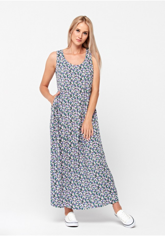 Maxi dress with colorful flowers