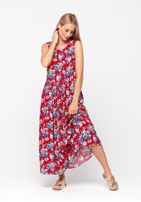 Red maxi dress with flowers