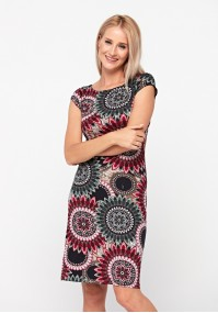 Fitted dress with rosettes