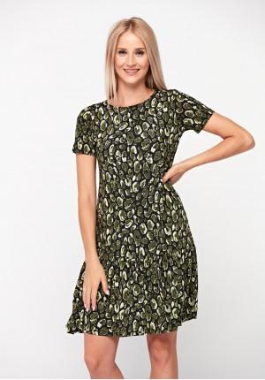 Dress with green animal print