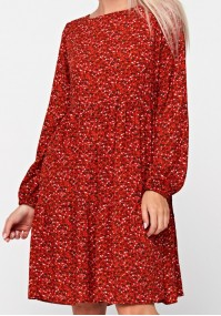 Trapezoidal dress with small leaves