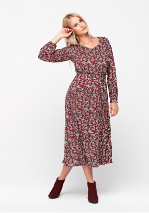 Midi dress with twigs