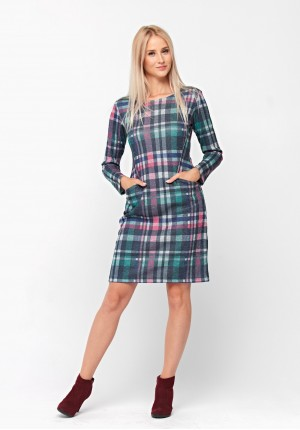 Colorful dress with grid pattern