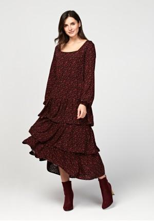 Midi sukienka z falabanami