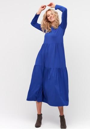 Niebieska trapezowa sukienka maxi