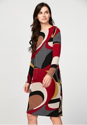 Prosta sukienka w geometryczny wzór