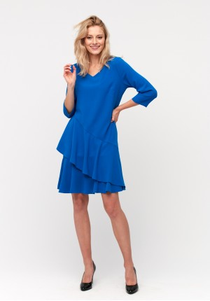Dress with an asymmetrical frill