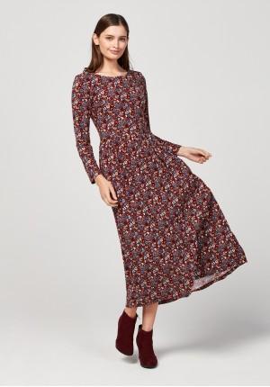 Burgundy tapered waist dress