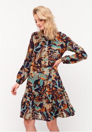 Trapezowa sukienka w kolorowe liście