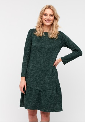 Knitted dress with frill