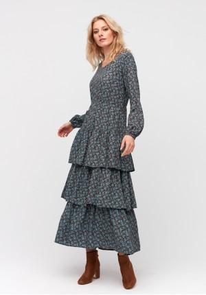 Trapezoidal maxi dress with frills
