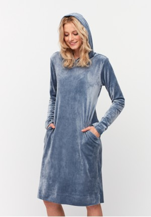 Blue dress with a hood