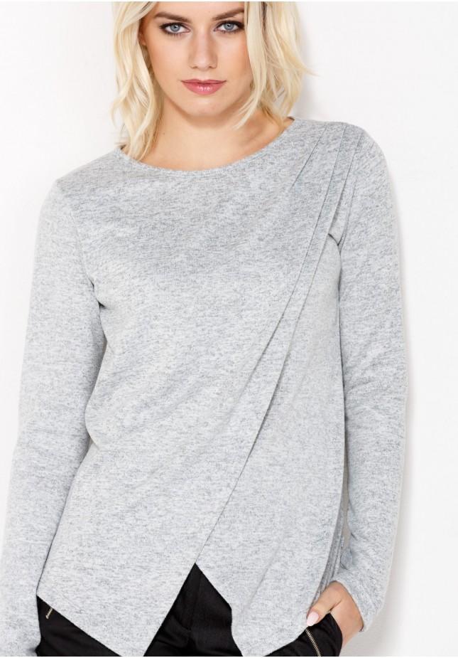 Siwy Sweter z zakładką