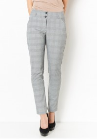 Siwe Spodnie w kratkę