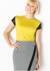 Żółta Bluzka z czarnym rękawkiem